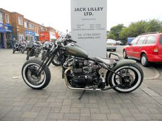 On the forecourt of our Ashford showroom - the Jack Lilley Bonneville Bobber.