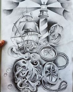 #nauticaltattoo #tattoodrawings #tattoos #tattoodesigns #artwork #art #octopus #shiptattoo #lighthouse #lighthousetattoo #drawings
