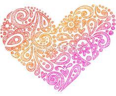 coeur de henné paisley dessinés à la main des formes fragmentaire doodle — Illustration #16204897