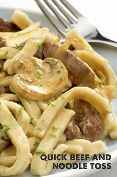 There's a lot of flavor packed into this dish, starting with big bites of seared beef and Reames Egg Noodles in a hearty blend of Worcestershire, mushrooms and garlic.