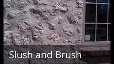 Slush and Brush stone wall: construction technique to make new walls loo...