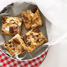 These nutty-sweet bars could be dessert, a quick breakfast, or after-school treats.