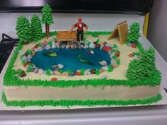 fishing and camping cake ...gathering ideas for a double birthday party coming up!  this guy made it look easy!
