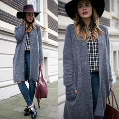 Windsor Cardigan, Missguided Check Blouse, Asos Ripped Skinny Jeans, Givenchy Bag