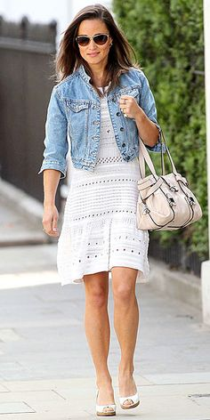 EYE SPY  Pippa puts her own spin on a classic eyelet dress, giving it a little edge with a fitted denim jacket and aviators, and keeping the rest of her look – including her white espadrilles and a shell-pink L.K. Bennett bag – sweetly feminine.