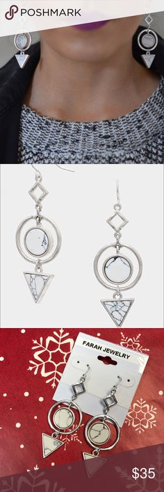 """Howlite Stone Metal Hoop Earrings Can you say Holiday gifts?  These earrings from Farah Jewelry collection will sure make someone happy! Color:  Matte Silver and White.  2.5"""" L and 0.8"""" W.  Fishhook back. Farah Jewelry Jewelry Earrings"""