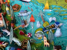 Abruzzo, Molise and L'Isole Tremiti map details. Sara Drake - illustrated map of Italy - papier mache, acrylic paint, balsa wood and mixed media. Italian Posters, Italy Map, Beads And Wire, Travel Posters, Vintage Ads, Drake, Shapes, Illustrated Maps, Illustration