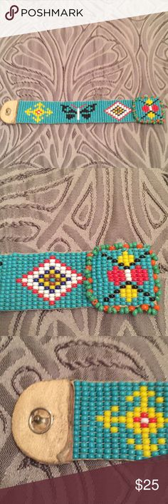 Vintage Handmade Beaded Bracelet Very nice condition with hand sewn snap.  Tiny, so maybe best for a child.  5 inch. Great gift for those who love Native American crafts Jewelry Bracelets