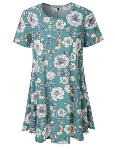 e96a91846ba2 LE3NO Womens Oversized Floral Print Short Sleeve Flared Tunic Dress with  Pockets