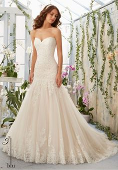 JUST ARRIVED! Alencon Lace drop waist wedding gown, with dramatic full skirt and scalloped lace hem.  (IV3044)