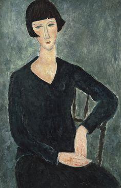 Amedeo Modigliani, Femme assise à la robe bleue, 1918-1919. Huile sur toile, 92 x 60 cm. Moderna Museet, Stockholm. Donation d'Oscar Stern, 1951. Photo: Moderna Museet, Stockholm
