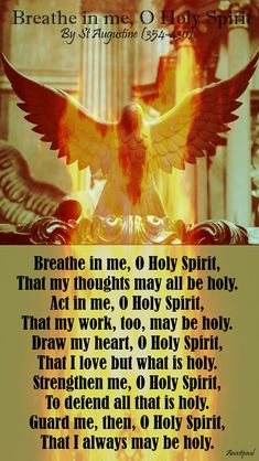 Our Morning Offering – 2 June Breathe in me, O Holy Spirit By St Augustine Breathe in me, O Holy Spirit, That my thoughts may all be holy. Prayer Times, Prayer Scriptures, Bible Prayers, Catholic Prayers, Faith Prayer, God Prayer, Prayer Quotes, Faith Quotes, Bible Quotes