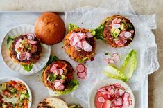 What to feed a vegetarian at a barbecue | Anna Jones Quick Pickled Radishes, Best Veggie Burger, Cooking For Three, Rainbow Salad, Burger Buns, Burgers, Mouth Watering Food, Lunch To Go, Roasted Carrots