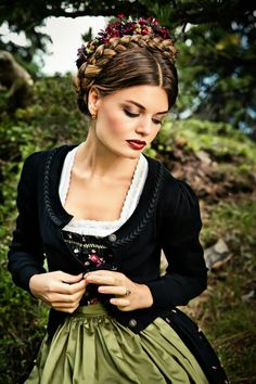 dirndl worn with a traditional sweater - Austria