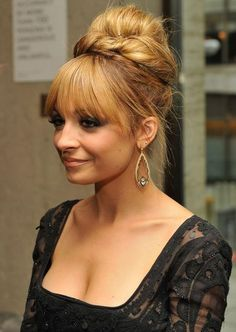 Nicole Richie long #hair updo with a fringe