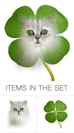 """""""My Lucky Four Leaf Clover ~ 2 Item Set"""" by catfabricsandbuttons ❤ liked on Polyvore featuring art and my"""