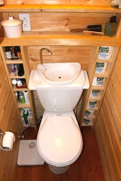Clever Tiny house storage ideas are key to successfully living in a small space. Take a look at some of these ideas for your own tiny house. Rv Bathroom, Tiny Bathrooms, Tiny House Bathroom, Bathroom Storage, Small Bathroom, Bathroom Ideas, Kitchen Small, Bathroom Organization, Remodel Bathroom