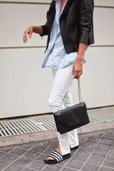 2014 AllSaints jacket - Saint Laurent Betty bag - Levi's shirt - Adilette sandals - Pimkie x COTR pants