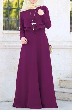 Volanlı Ebrar Elbise - Menekşe Abiye, Elbise, Büyük Beden Suhneva Purple Abaya hijab Style Fashion Dress