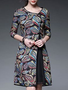 Black Paisley Crew Neck Half sleeve A-line Vintage Asymmetric Chiffon Midi Dress