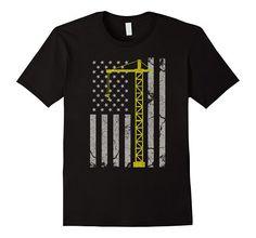 Amazon.com: Vintage American Flag Engineer T-shirt Yellow Crane $19.99