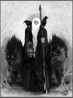 Happy Wednesday!!!! (Glad Onsdag!!!!) Odin with Geri, Freki, Hugin and Munin (and Mimir's Head?)