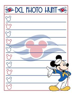 "DCL Photo Hunt - Make your own list and go on a fun photo hunt around the ship!! - Disney Cruise Line - Project Life Journal Card - Scrapbooking. ~~~~~~~~~ Size: 3x4"" @ 300 dpi. This card is **Personal use only - NOT for sale/resale** Logo/clipart belongs to Disney/Disney Cruise Line. Font is Copasetic www.dafont.com/copasetic.font *** Click through to photobucket for more versions of this card with different titles ***"