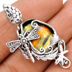 Dragonfly-Indonesian-Bumble-Bee-925-Silver-Pendant-Jewelry-SP141314
