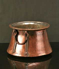 using copper pots/urns  in modern homes | antique flared copper cauldron our collection of antique copper pots ...: