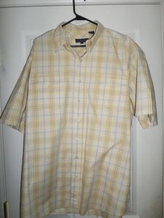 Mens Cream White ROPER Plaid Country Western Button Short Sleeve Shirt, Size XL #ROPER #ButtonFrontCountryWesternEmbroideredLogo