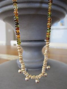 Tourmaline necklace with 14K Gold filled beads by EldorTinaJewelry, $98.00