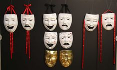 Comedy and Tragedy Oversize masks for display. Looks great on the wall of your office or classroom. A pair of these make a great gift. Masks can be autographed or painted.  We have created these masks for our directors and educators only located in the USA. These are not for sale to the general public. They are not listed on our website for that reason. Approximate size is 8 1/2 inches wide and 11 inches tall. Mounting instructions are included. Promotion officially ends on 6-30-2014.