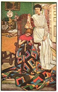"Painting by Elizabeth Shippen Green. From Harper's Monthly Magazine for December 1904 and a story entitled, ""The Thousand Quilt."" Watercolor over charcoal appears to be the medium used."