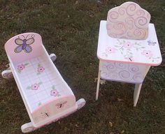 DOLL Furniture Baby Dolls Cradle High Chairs Toys by spoiltrottn Doll Painting, Painting For Kids, Baby Doll Furniture, Doll High Chair, Cradle Bedding, Craft Projects For Kids, Craft Ideas, Childrens Room Decor, Birthday Fun