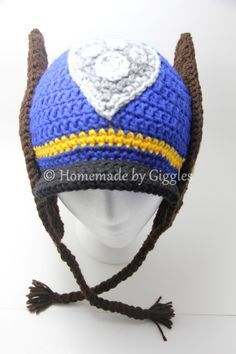 Hat: Inspired by Chase from Paw Patrol. FREE crochet pattern from Homemade by Giggles. Make this yourself! Child size.