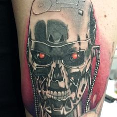 Terminator Head Tattoo Done By David Vega