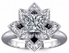 ❤ Lotus Princess Diamond Engagement Ring