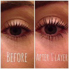 Before & after CReaTeLashes Eyelash Fibers