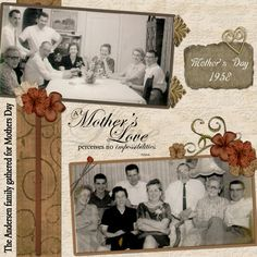 A Mother's Love ~ Simply designed heritage digi page with great tone-on-tone background texture.