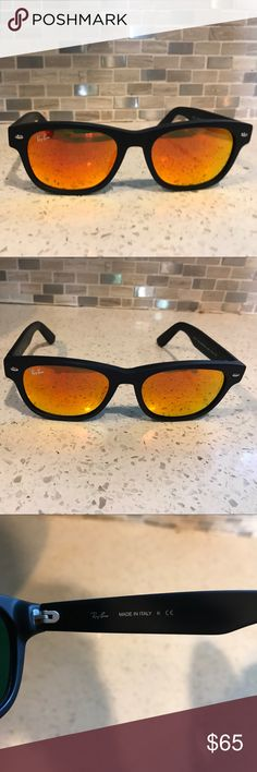 d5e39fd7171 Ray-Ban New Wayfarers RB2132 Black Frame Orange Mirror Lens size  52mm
