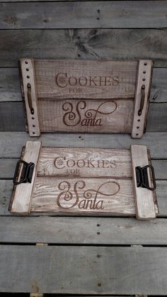 Cookies for Santa, pallet Christmas serving tray, reclaimed wood tray, rustic…