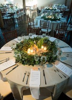 eucalyptus wreaths instead of wedding centerpieces