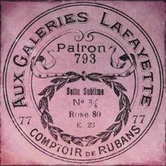 Vintage Labels Vintage French Ribbon Packaging for Galeries Lafayette, Boulevard Haussman, Paris IX Vintage Images, French Vintage, Vintage Pink, My Favorite Color, My Favorite Things, I Believe In Pink, I Love Paris, Vintage Labels, Vintage Packaging