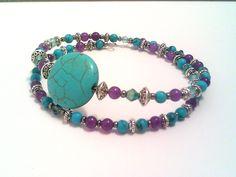 Turquoise, purple, silver, beaded bangle bracelet, blue crystals, turquoise beads, purple beads, Bali style, beaded bracelet by barefootcreekgifts on Etsy