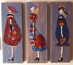 Ladies of Style mosaic ladies on painted canvas by MosaicGlassArt, $320.00