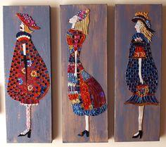 Damen Style  Mosaik Damen auf bemalte Leinwand von MosaicGlassArt
