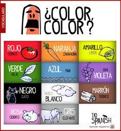 Recurso educativo para aprender los colores en español. Mira el vídeo para aprender como pronunciar los colores en castellano -- Educational resource to learn Spanish colors. Watch the video to learn to pronunciate spanish colours