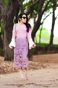 cute & little blog | contrasting bell sleeve pink sweater, lace crochet lilac skirt, steve madden carrson pink sandals, baublebar crispin drops, gucci marmont matelasse | spring outfit