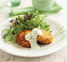 Vege patties with herbed yoghurt | Healthy Food Guide