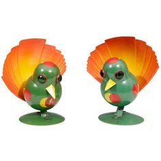 Rare Pair of Futurist Art Deco Peacock Table Lamps by Walter Von Nessen For Sale at 1stdibs
